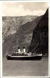 Postcard Norwegen, Dampfschiff Monte Sarmiento im Fjord, HSDG