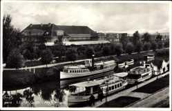 Ak Giżycko Lötzen Ostpreußen, Am Kurhaus, Schiffe im Fluss