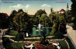 Postcard Offenburg im Schwarzwald Ortenaukreis, Partie am Schwanenteich, Springbrunnen