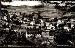 Postcard Endbach Mittelhessen, Blick auf den Ort, Felder, Fachwerkhaus