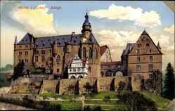 Postcard Marburg an der Lahn, Blick auf das Schloss, Frontansicht, Uhr