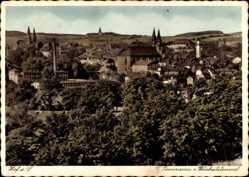 Postcard Hof Saale, Stadtpanorama, Weisheitstempel, Wald, Glockentürme