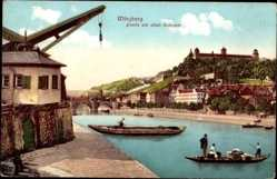 Postcard Würzburg, Partie am alten Krahnen, Gondeln, Stadtansicht, Flaschenzug