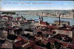 Postcard Budapest Ungarn, Blick auf den Ort von der Fischerbastei aus