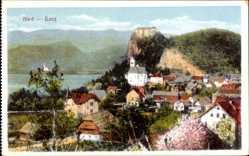 Postcard Bled Veldes Slowenien, Blick auf den Ort, Kirche, Berge, Häuser