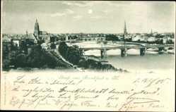 Postcard Frankfurt am Main, Panoramaansicht mit Brücke und Main