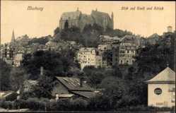 Postcard Marburg an der Lahn, Blick auf Stadt und Schloss, Heinrich Unkel