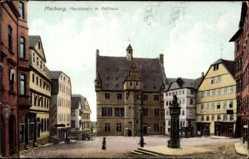 Postcard Marburg an der Lahn, Blick auf den Marktplatz mit Rathaus