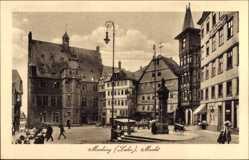 Postcard Marburg an der Lahn, Der Marktplatz mit Rathaus und Gasthaus