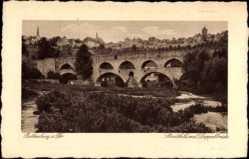 Postcard Rothenburg ob der Tauber Mittelfranken, Stadtbild mit Doppelbrücke