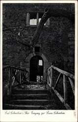 Postcard Bad Liebenstein im Wartburgkreis, Eingang zur Ruine Liebenstein