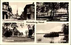 Postcard Fürstenberg an der Havel, Ernst Thälmann Straße, Bootshaus, Schwedtsee