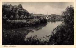 Postcard Maulbronn im Enzkreis Baden Württemberg, Flusspartie, Kirche, Straße, Kloster