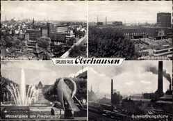 Postcard Oberhausen am Rhein, Hauptbahnhof, Gutehoffnungshütte, Friedensplatz