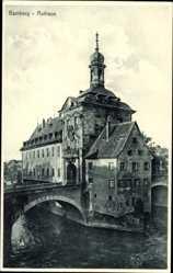 Postcard Bamberg an der Regnitz Oberfranken, Blick auf das Rathaus, Brücke, Gewässer