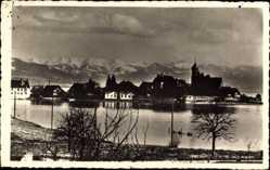 Postcard Wasserburg am Bodensee Schwaben, Blick auf den Ort mit den Alpen