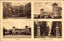 Postcard Rheinsberg in Brandenburg, Schloss, Naturtheater, Eingangsportal zum Park