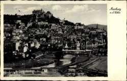 Postcard Marburg an der Lahn, Blick auf den Ort und das Schloss, Fluss, Brücke
