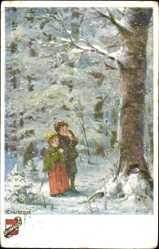 Künstler Ak Kutzer, Ernst, Kinder im Wald, Winter, Ostmark