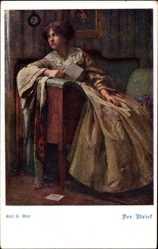 Künstler Ak Gsur, Karl F., Der Brief, Sitzende Frau