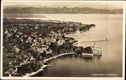 Postcard Langenargen im Bodenseekreis, Fliegeraufnahme mit Hafen