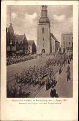 Ak Tschernjachowsk Insterburg Ostpreußen, Russische Parade 1914, Truppenabmarsch
