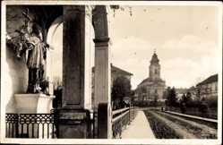 Postcard St. Gotthard Szentogotthard Ungarn, Blick auf die Kirche, Straßenpartie