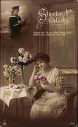 Postcard Stunden des Glücks, Seemann, Frau, Rosen, NPG 12783