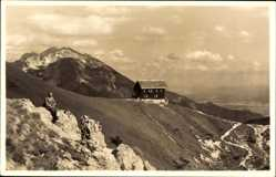 Postcard Slowenien, Spodnja koca na Golici, Schutzhütte, Gebirge, Bergsteiger