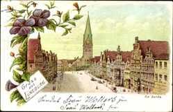 Litho Lüneburg in Niedersachsen, Am Sande, Marktplatz, Kirche