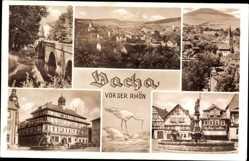 Postcard Vacha im Wartburgkreis, Totalansicht, Brunnen, Rathaus, Brücke
