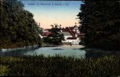 Postcard Mariental Ostritz Oberlausitz, Kloster St. Mariental, Wald, See, Steg