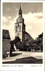 Postcard Nottuln im Münsterland, Stiftsplatz mit St. Martin, Straßenpartie