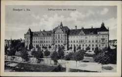 Postcard Bautzen in der Lausitz, Partie am Justizgebäude mit Anlagen
