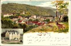 Litho Bad Liebenstein, Schloß Altenstein, Hirsch, Panorama der Stadt