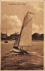 Postcard Wyk auf Föhr in Nordfriesland, Nordseebad, Segelboot in Fahrt