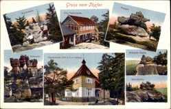 Postcard Oybin Sachsen, Töpferbaude, Papagei, Brütende Henne, Felsentor, Schildkröte