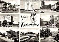 Postcard Eschweiler in Nordrhein Westfalen, BIAG Zukunft, Rosenallee, Sparkasse