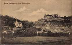 Postcard Karlstadt im Kreis Main Spessart Unterfranken, Ruine und Villa Steinbrück