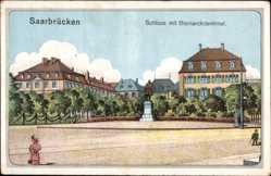 Künstler Ak Saarbrücken a.d. Saar, Schloss mit Bismarckdenkmal