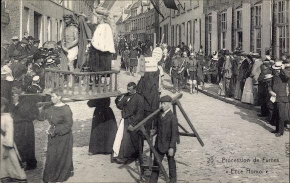 Furnes Westflandern, Procession, Ecce Homo, Träger