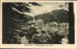 Postcard Bad Berneck im Fichtelgebirge Oberfranken, Blick auf den Ort mit Ruine