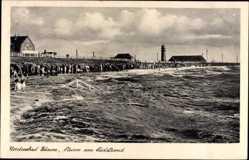 Postcard Büsum Dithmarschen, Sturm am Südstrand, Meer, Wellen, Leuchtturm