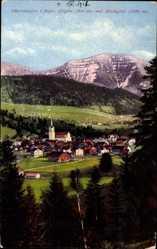 Postcard Oberstaufen im bayr. Allgäu, Blick auf den Ort und den Hochgrat