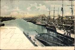 Postcard Hansestadt Bremen, Der Freihafen mit liegenden Booten, Brücke