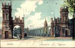 Postcard Hansestadt Bremen, Partie am Anfang der Kaiserbrücke