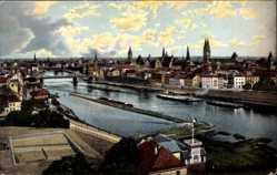 Postcard Hansestadt Bremen, Gesamtansicht der Stadt mit Flusspartie