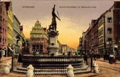 Postcard Augsburg in Schwaben, Die Maximilianstraße mit Merkurbrunnen