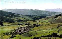 Postcard Bad Hindelang im Oberallgäu, Panoramablick auf den Ort, Purger 8668