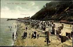 Postcard Ostseebad Sellin auf Rügen, Strandpartie mit Badegästen